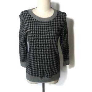 J Crew XL navy grey houndstooth 3/4 sleeve sweater